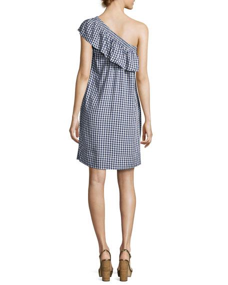 Virgie Gingham One-Shoulder Shift Dress, Navy Blue/White