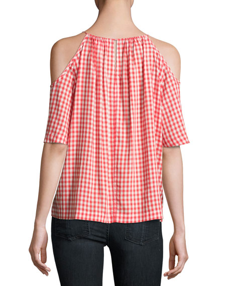 Nedra Gingham Cold-Shoulder Top, Red/White