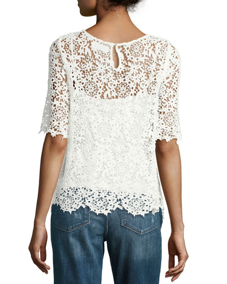 Colleen Floral Lace Half-Sleeve Top, White