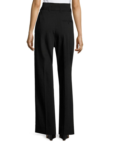 Paper Bag High-Waist Wide-Leg Pants, Black