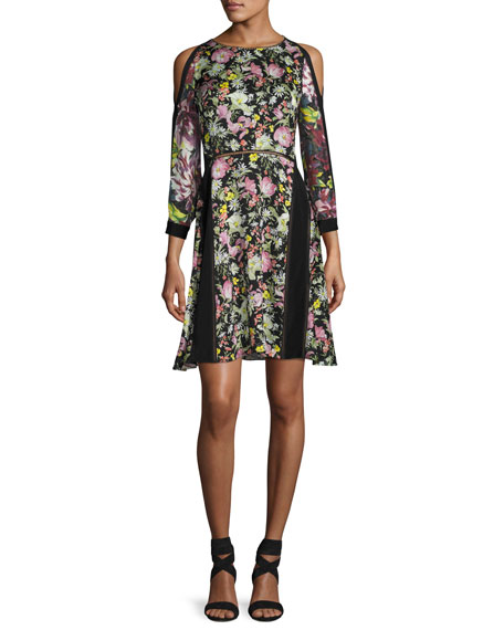 3.1 Phillip Lim Cold-Shoulder Floral Silk Dress, Multicolor
