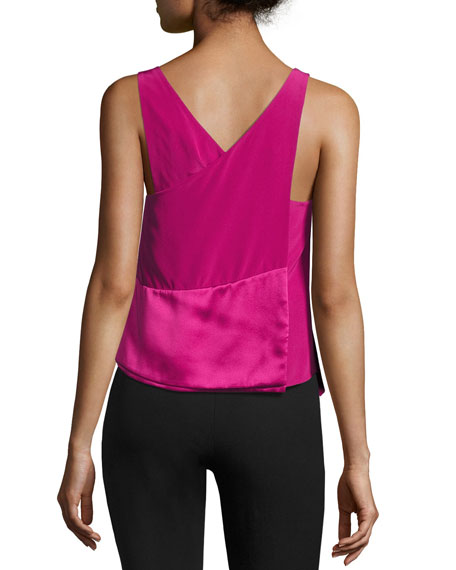 Layered Asymmetric Silk Tank, Pink