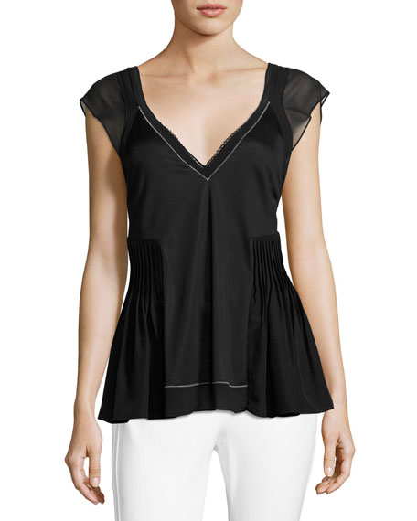 3.1 Phillip Lim V-Neck Flutter Top with Bra