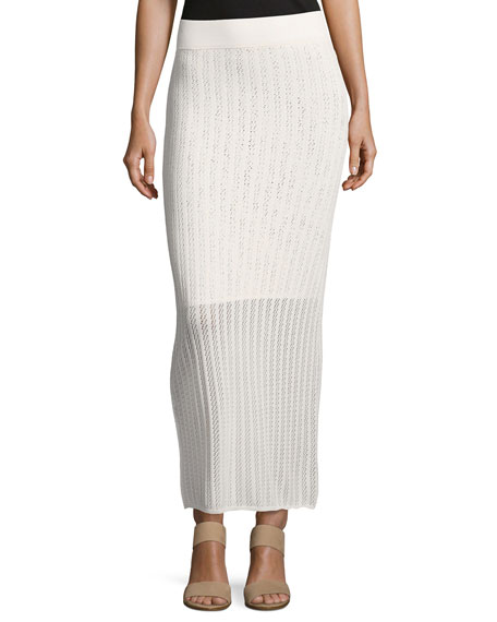 A.L.C. Suvi Ribbed-Knit Maxi Skirt, Off/White