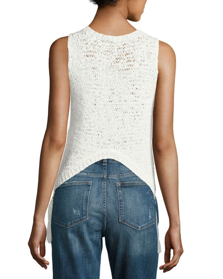 Carmelita Sleeveless Crochet Tassel Top, White