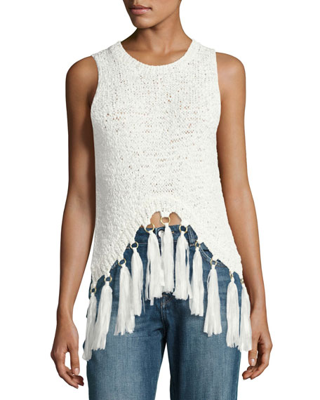 A.L.C. Carmelita Sleeveless Crochet Tassel Top, White