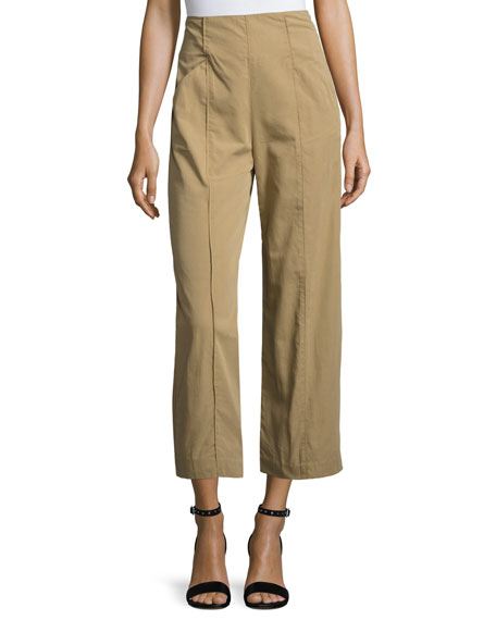 A.L.C. Marley Cropped High-Rise Wide-Leg Chino Pants, Brown