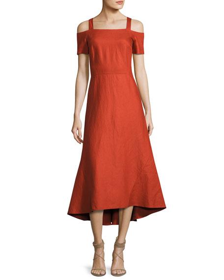 Daniel Cold-Shoulder Midi Dress, Brick