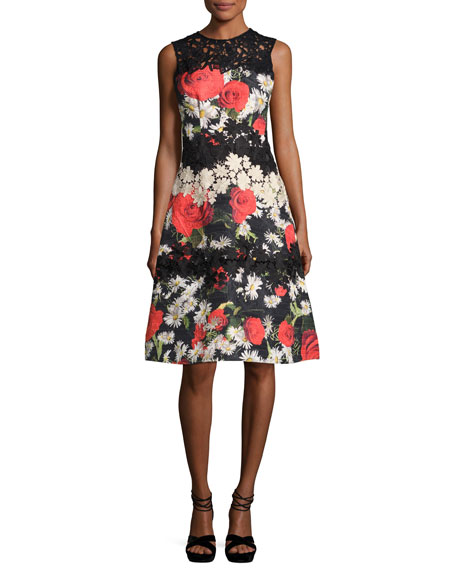 Rickie Freeman for Teri Jon Sleeveless Floral Jacquard