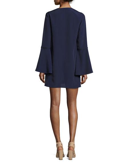 Adair Bell-Sleeve Short Dress, Navy