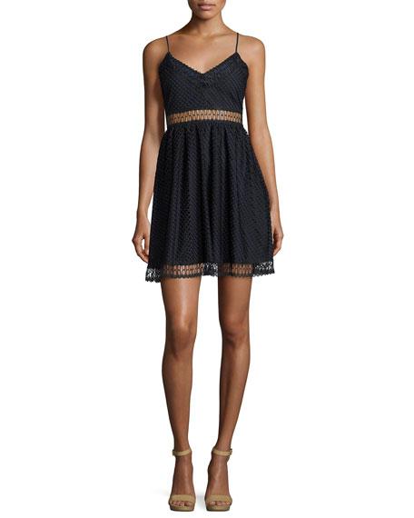 Likely Glencoe Fence Lace Sleeveless Dress, Blue/Black