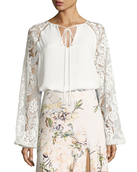 The Enchantment Mixed-Media Blouse, White