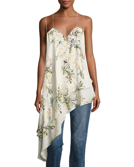 Haute Hippie The Darling Floral Silk Asymmetric Tank,