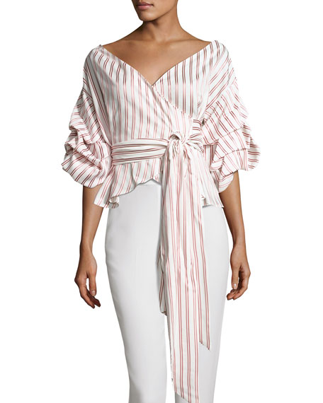 Armelle Off-The-Shoulder Striped Shirt, Multipattern