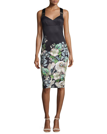 Ted Baker London Jayer Gem Gardens Fitted Sheath Dress, Black