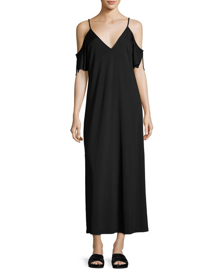 T by Alexander Wang Luxe Ponte Cold-Shoulder Maxi