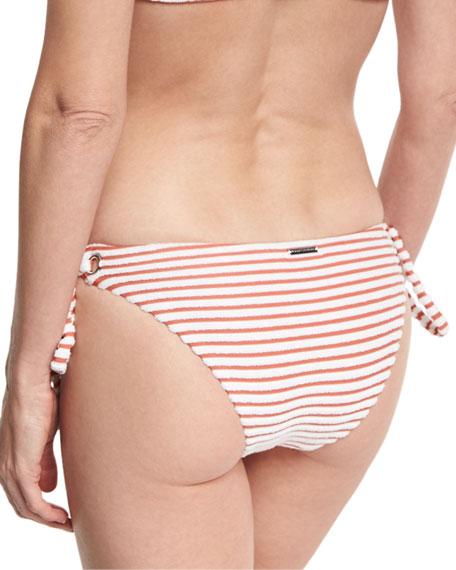Striped Terry Tie-Side Swim Bikini Bottom, Pink
