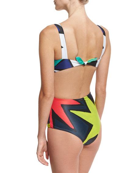 Cutout-Side One-Piece Swimsuit, Multicolor