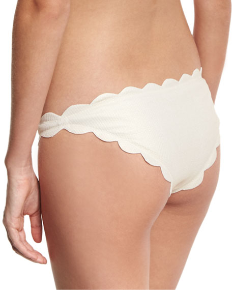 Antibes Scalloped Swim Bottom, Metallic Champagne