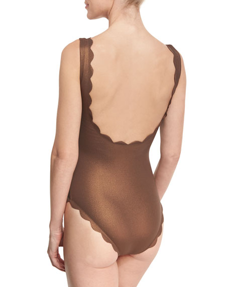 Palm Springs Scalloped Lace-Up Maillot, Metallic Brown