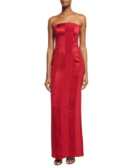Diane von Furstenberg Tonal Satin-Stripe Strapless Tailored Gown,