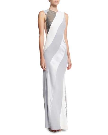 Diane von Furstenberg Sequined-Stripe Sleeveless Bias Gown, White