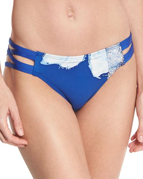 Carmen Marc Valvo Strappy-Side Bikini Bottom, Blue