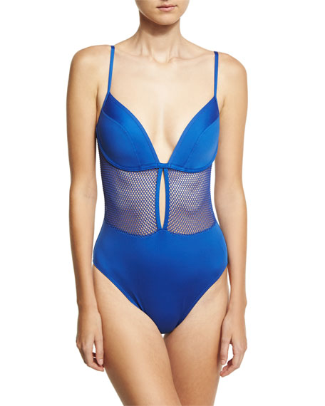 Carmen Marc Valvo Lingerie Mesh V-Neck One-Piece Swimsuit,