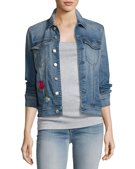 7 For All Mankind Trucker Rose Embroidered Jacket,