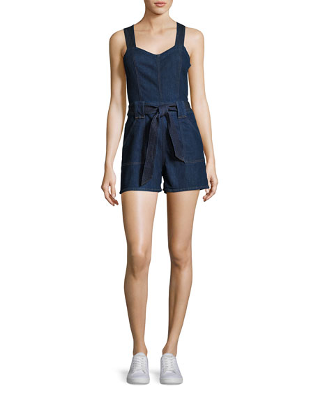 7 For All Mankind Sleeveless Short Denim Playsuit,