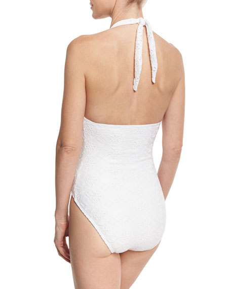 eyelet lace plunging halter one-piece swimsuit, white
