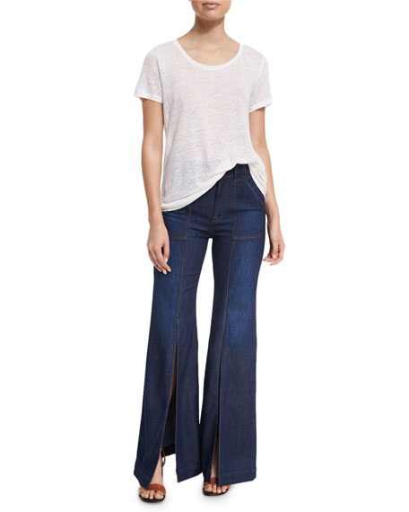 Palazzo Slit-Front High-Waist Denim Pants, Blue