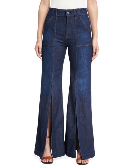7 For All Mankind Palazzo Slit-Front High-Waist Denim