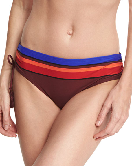 ruched-side striped bikini bottom, pink
