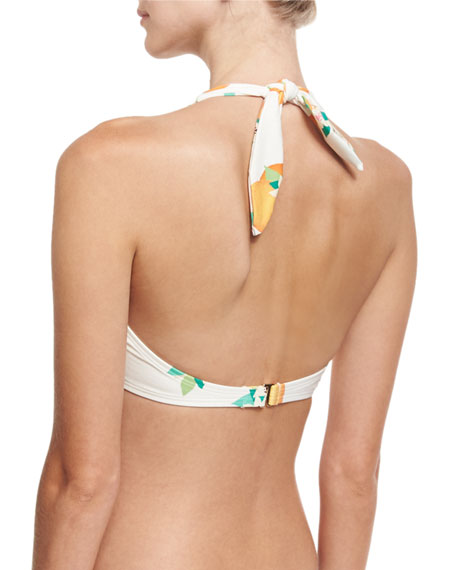 tropical fruit & floral underwire bikini top, white