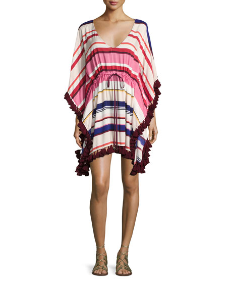 kate spade new york striped caftan coverup with
