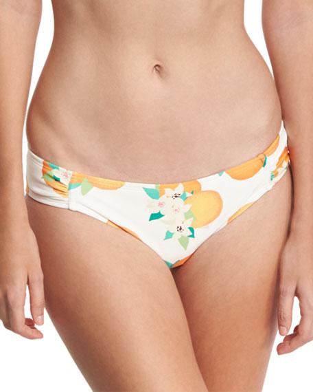 tropical fruit & floral gathered-side bikini bottom, white