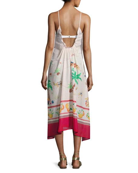 camel-print maxi coverup dress, white