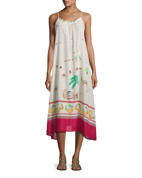 kate spade new york camel-print maxi coverup dress,