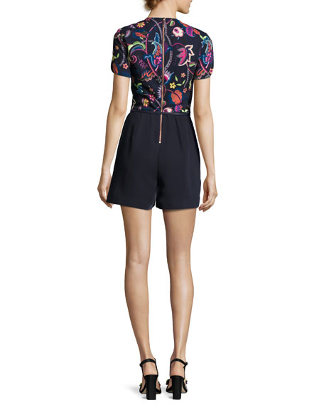 Bindee Folk Foliage Playsuit, Dark Blue