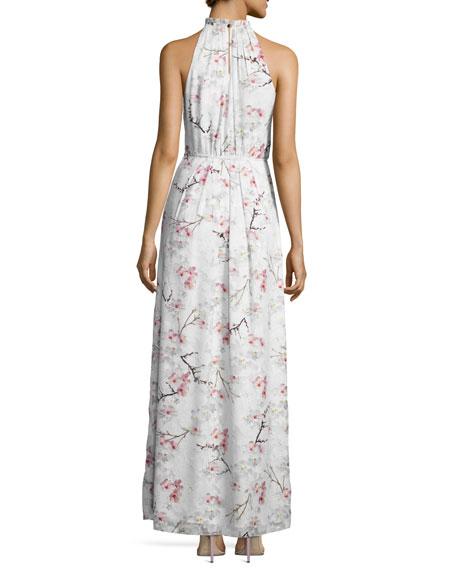 Elynor Cherry Blossom Maxi Dress, Light Gray