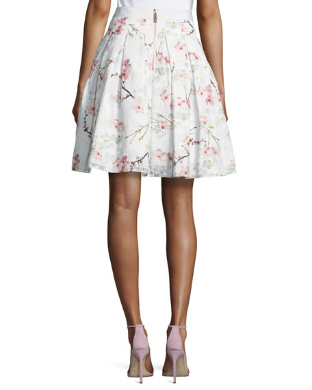Cherry Blossom Burnout Skirt, Light Gray