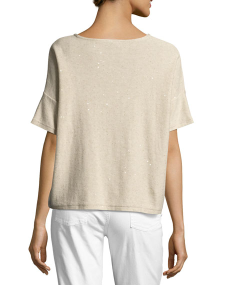 Organic Silk Sequined Top