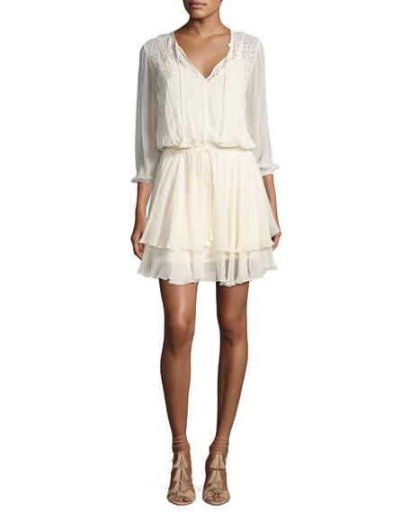 Trellis Vine Eyelet Lace Dress, Beige