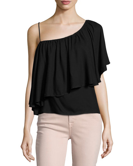 Ella Moss Stella One-Shoulder Ruffled Top, Black