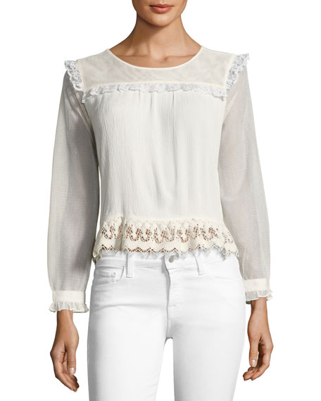 Hazelina Long-Sleeve Ruffle-Trim Blouse, Beige