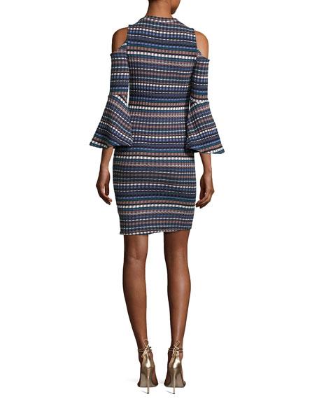 Nomadic Ribbed Cold-Shoulder Dress, Blue