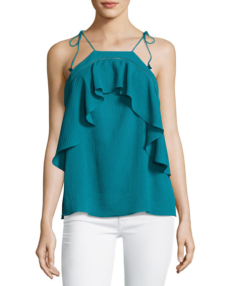 Nete Embroidered Ruffle Tie-Strap Tank, Teal