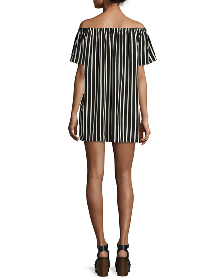 Polly Plains Off-the-Shoulder Striped Dress