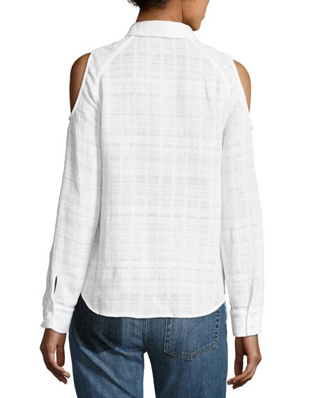 Natalia Gauze Check Cold-Shoulder Shirt, White